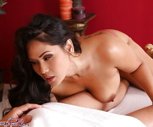 Curvy brunette masseuse..